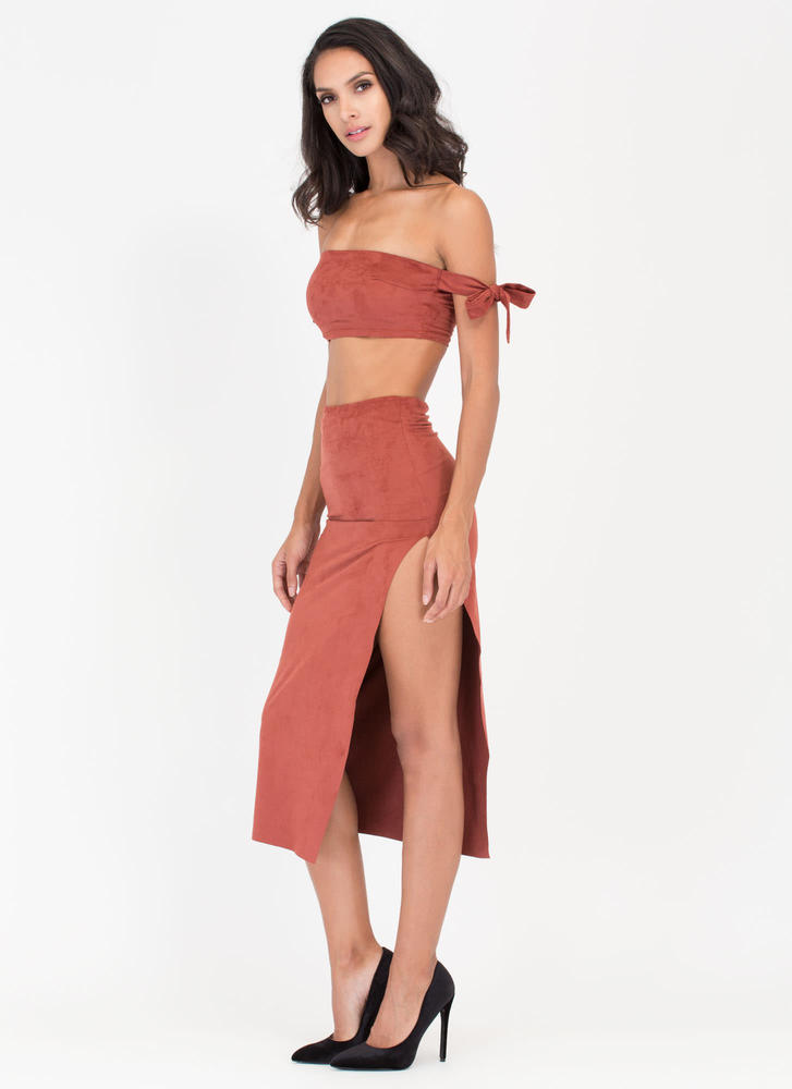Soft Opening Slit Faux Suede Skirt RUST (Final Sale)