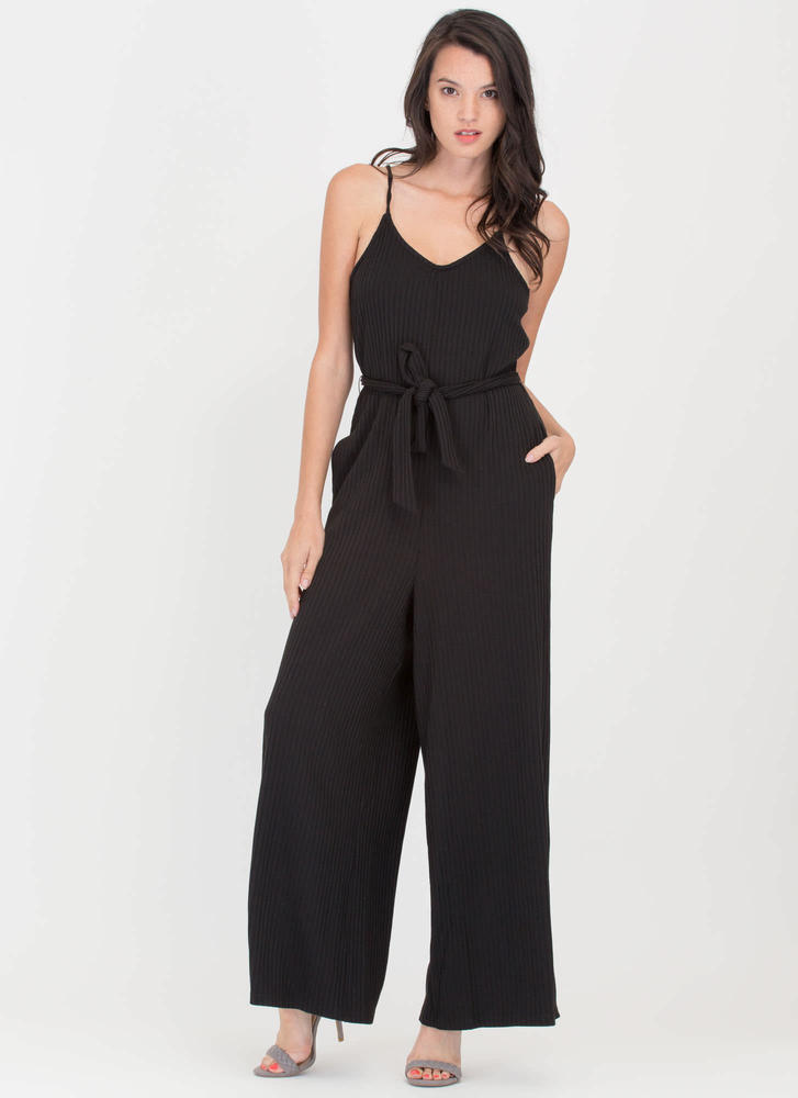 Chic Pose Ribbed Wide-Leg Knit Jumpsuit