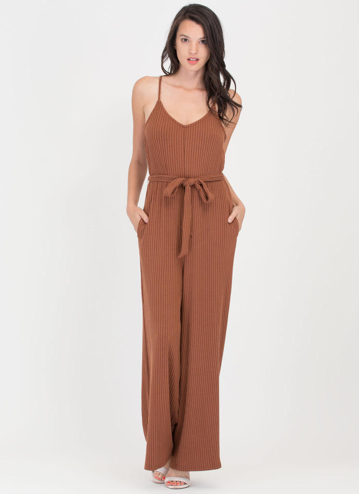 Chic Pose Ribbed Wide-Leg Knit Jumpsuit BROWN