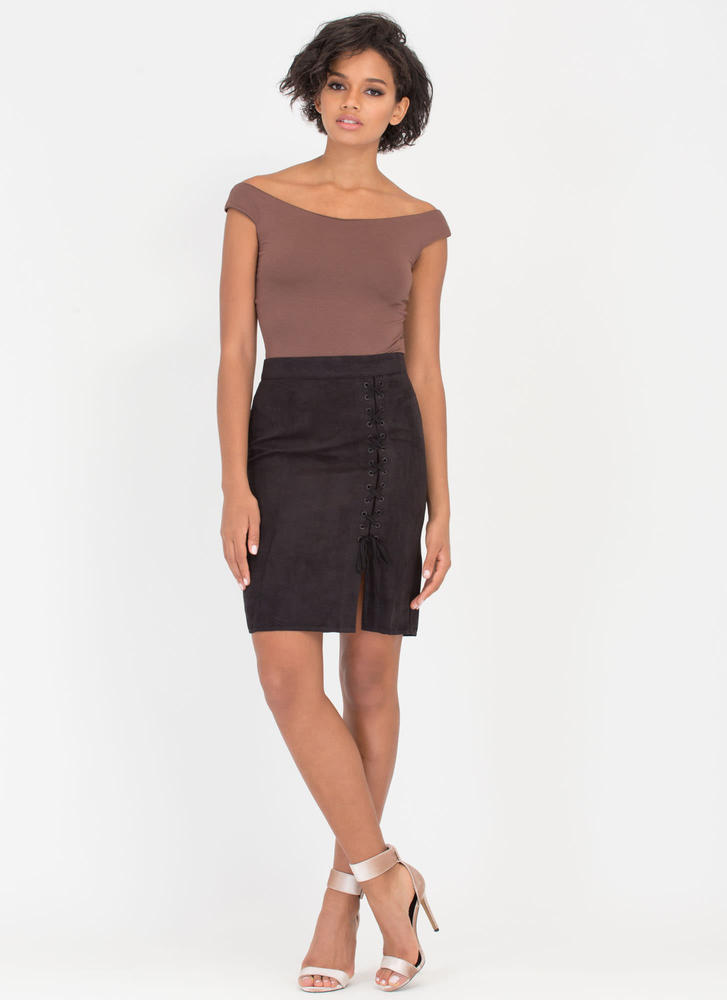 X-press Yourself Laced Faux Suede Skirt BLACK