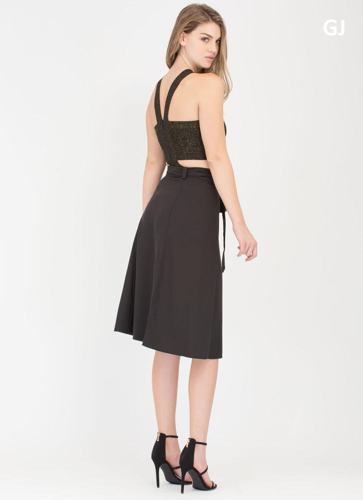 Have This All Wrapped Up Side-Tie Skirt BLACK (Final Sale)