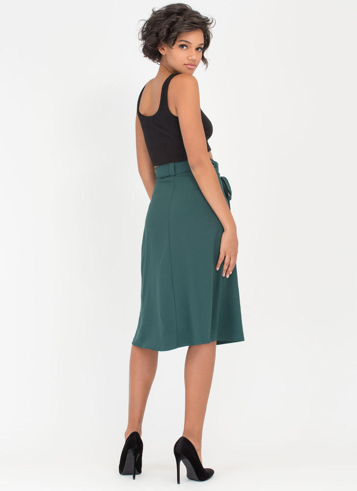 Have This All Wrapped Up Side-Tie Skirt HUNTERGREEN