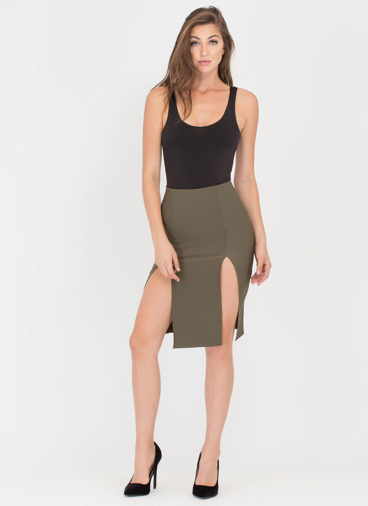 It Takes Two Double Slit Midi Skirt OLIVE