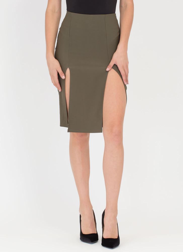 It Takes Two Double Slit Midi Skirt OLIVE (Final Sale)