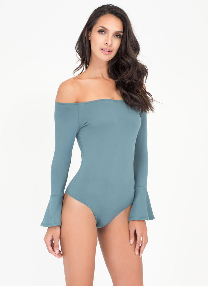 Bell Yes Off-Shoulder Thong Bodysuit TEAL (Final Sale)
