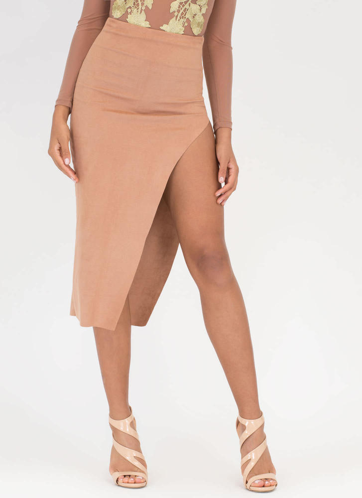 Bare Some Leg Faux Suede Maxi Skirt CAMEL