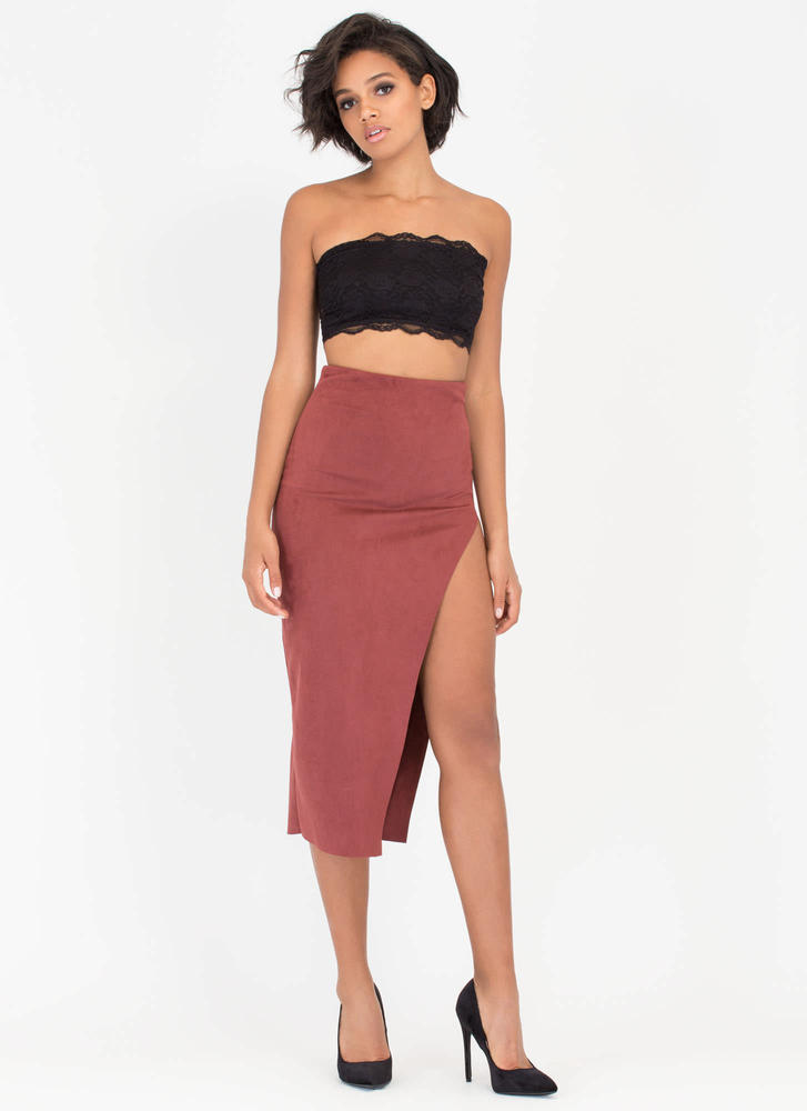 Bare Some Leg Faux Suede Maxi Skirt MARSALA