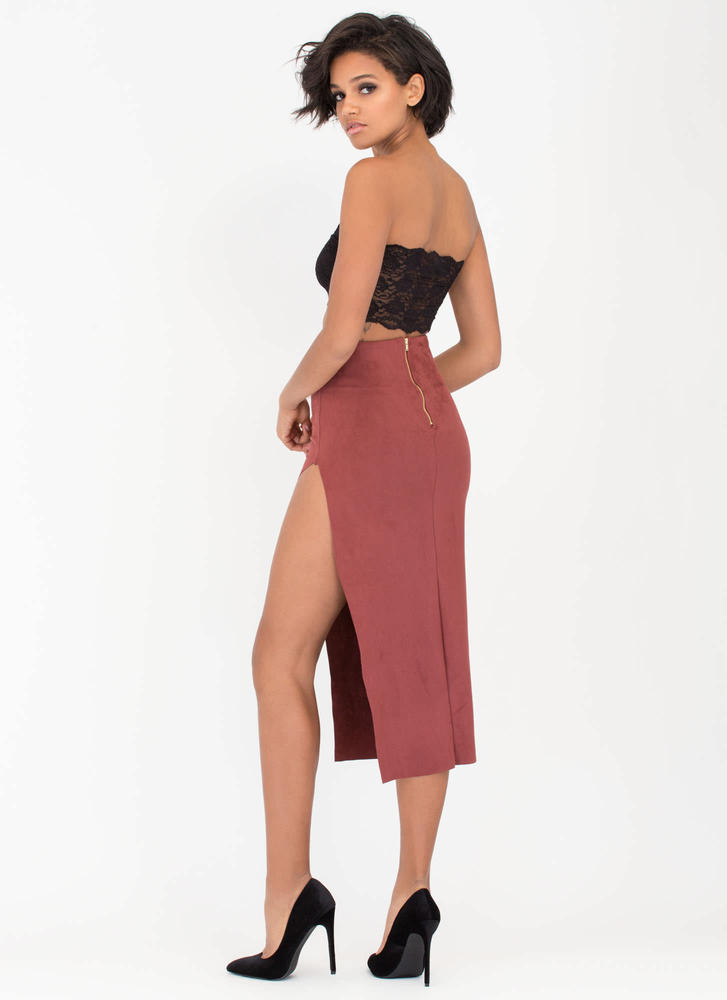 Bare Some Leg Faux Suede Maxi Skirt MARSALA (Final Sale)