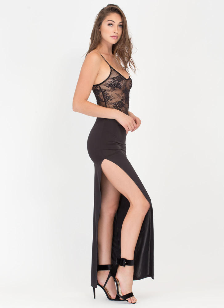 Going Long High Slit Maxi Skirt BLACK