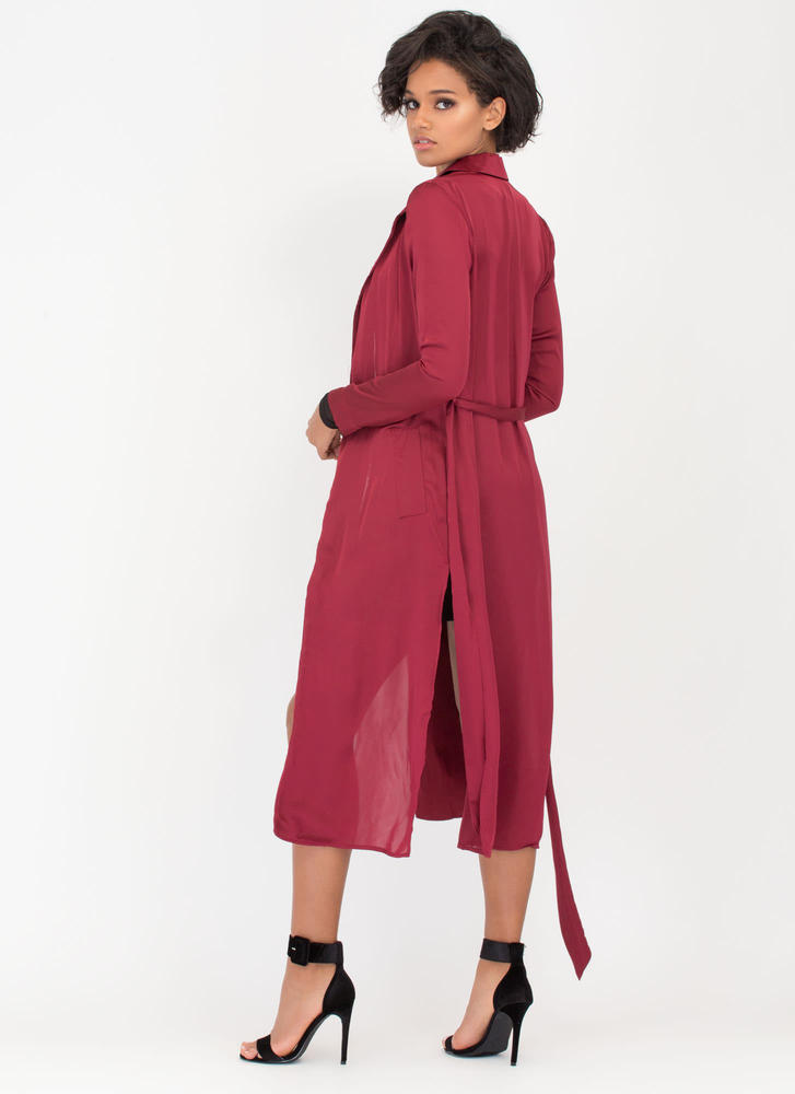 Glam Life Belted Satin Duster Jacket BURGUNDY