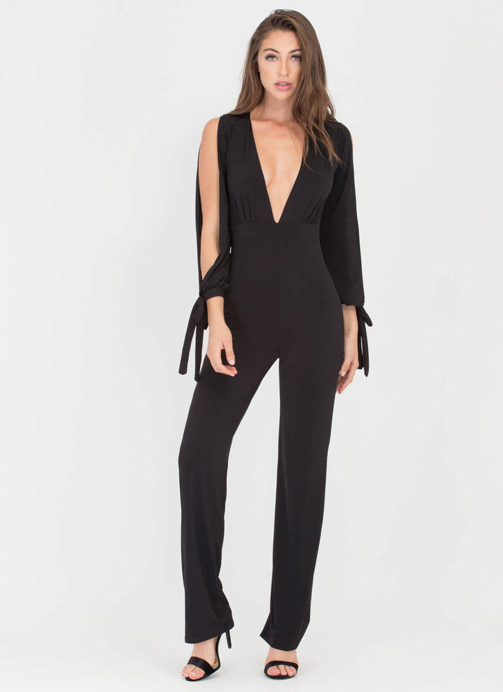 Glam Goddess Plunging Palazzo Jumpsuit