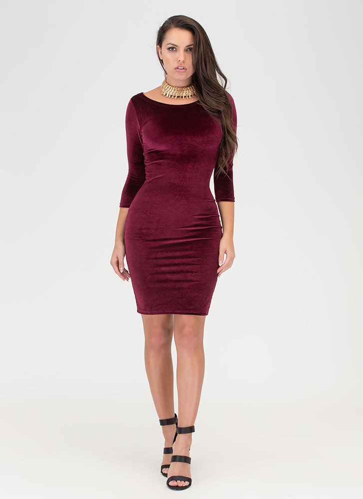 Feeling The Plush Velvet Midi Dress BURGUNDY