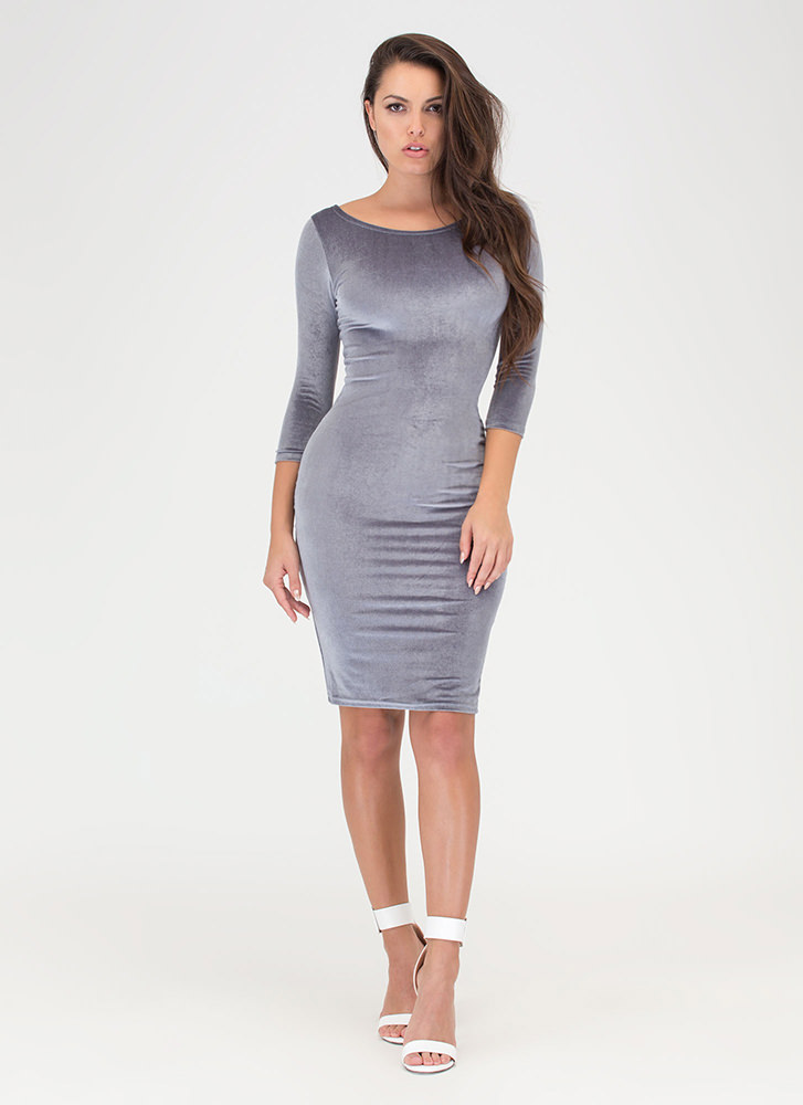 Feeling The Plush Velvet Midi Dress GREY