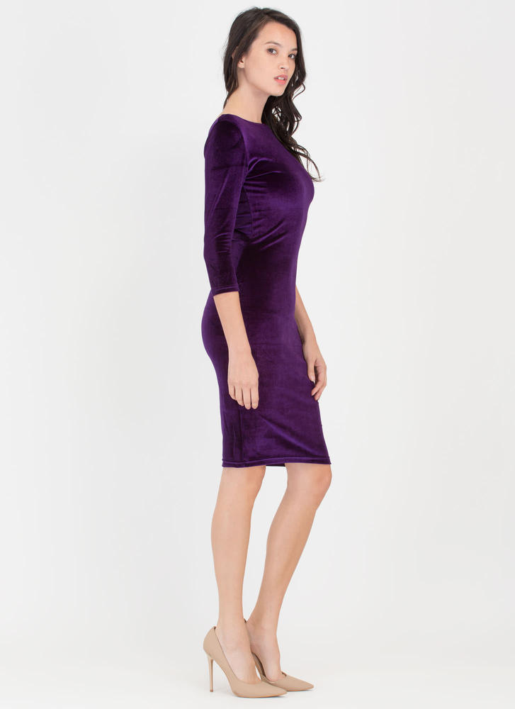 Feeling The Plush Velvet Midi Dress PURPLE