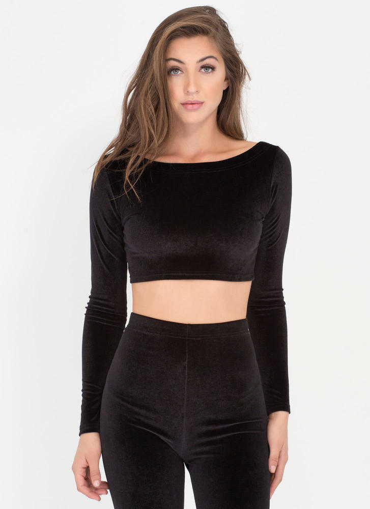 Feeling The Plush Velvet Crop Top