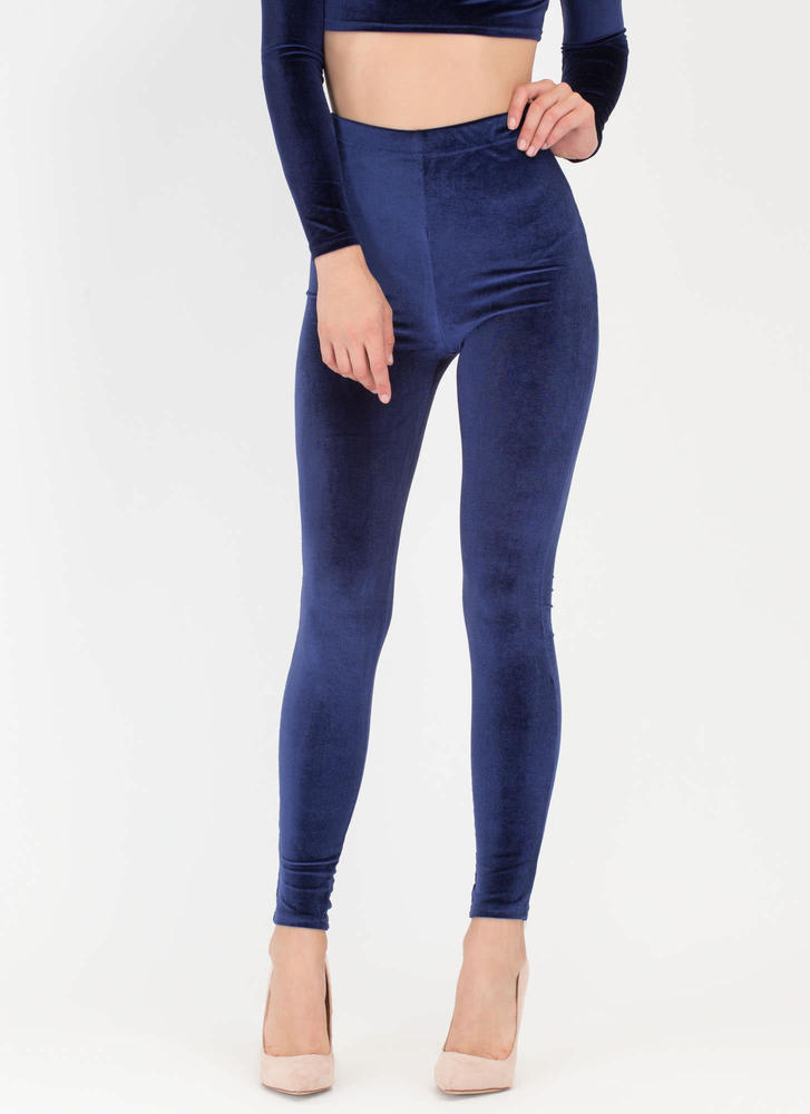 Feeling The Plush Velvet Leggings NAVY