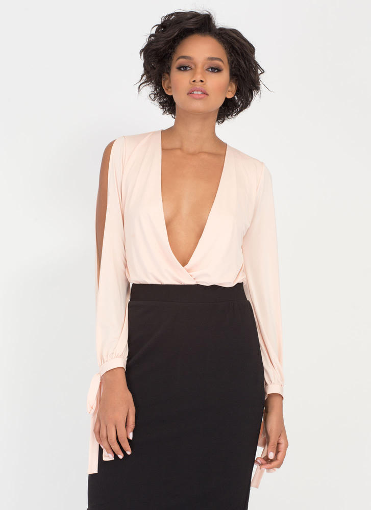 Time To Split Sleeve Plunging Bodysuit PEACH