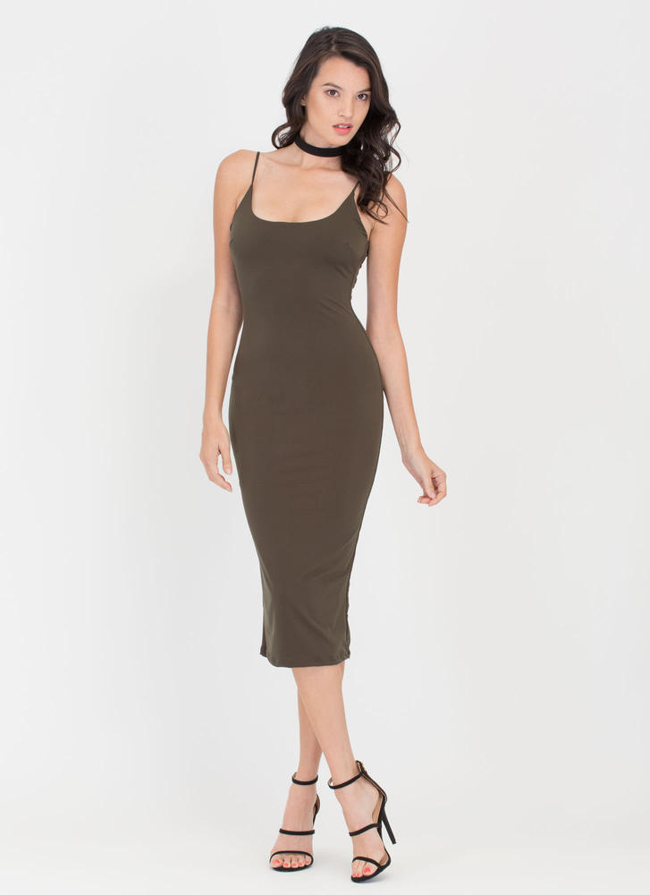 Tank You Very Much Scoop Midi Dress OLIVE (Final Sale)