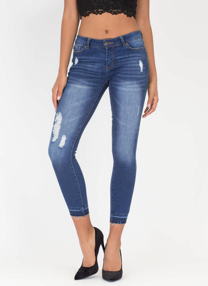 Casual Look Release Hem Distressed Jeans BLUE