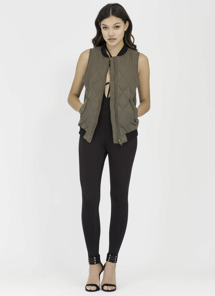Ride Along Quilted Zip-Up Vest OLIVE