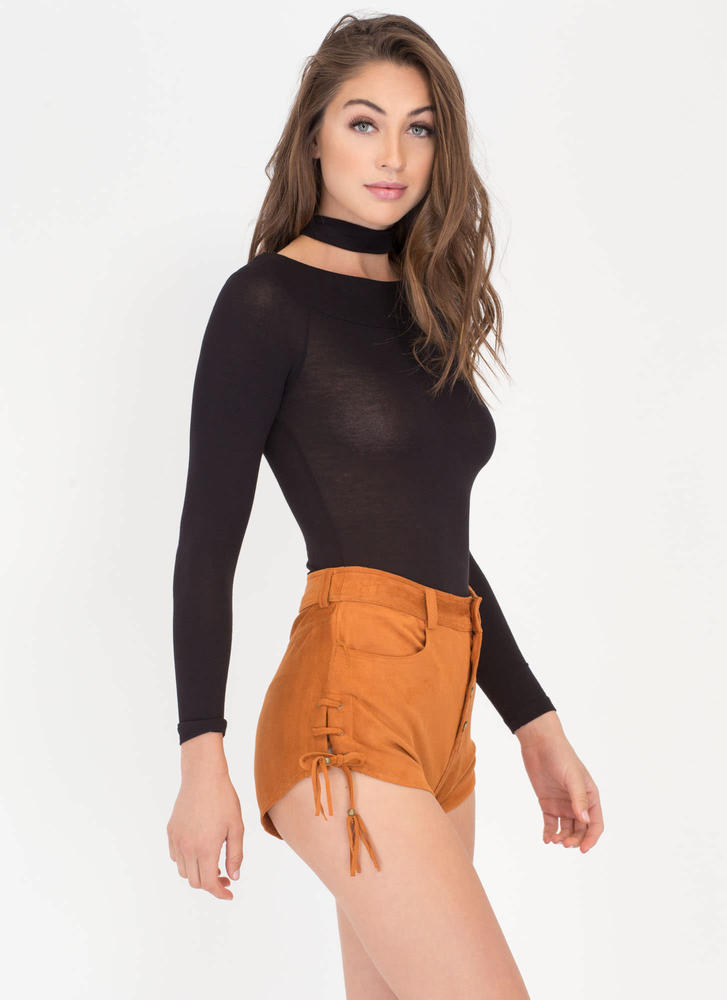 Tassel Today Laced Faux Suede Shorts