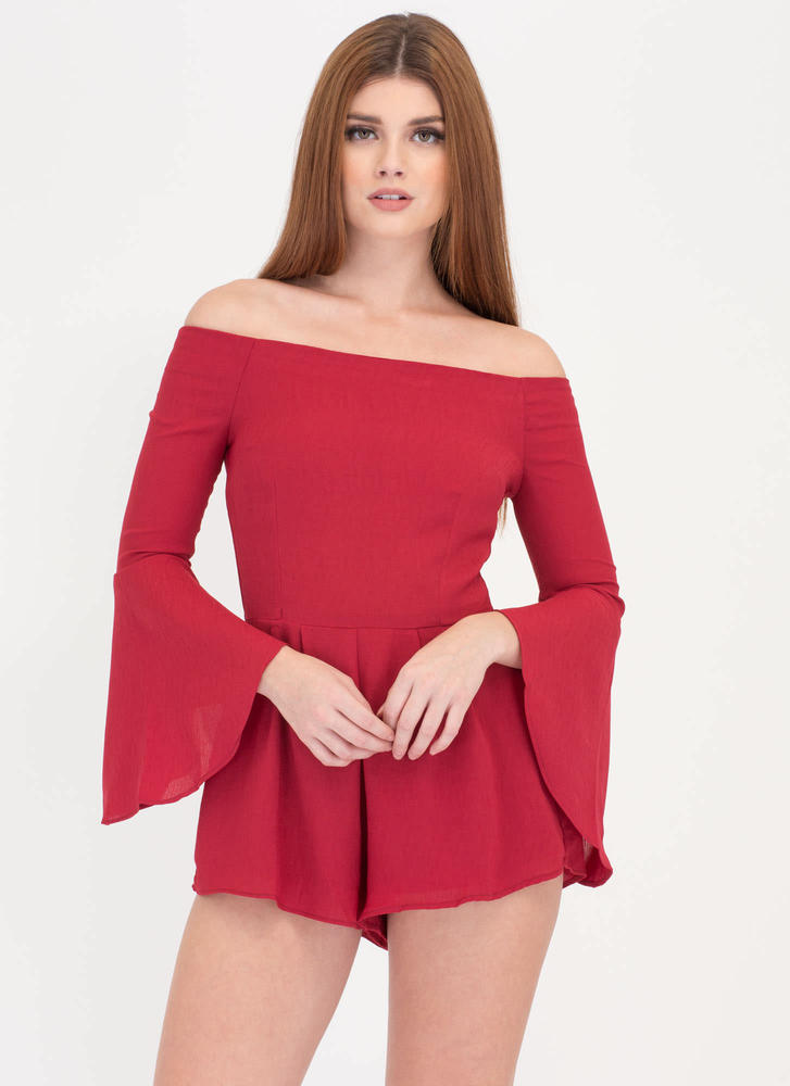 Ring My Bell Off-Shoulder Romper DEEPRED