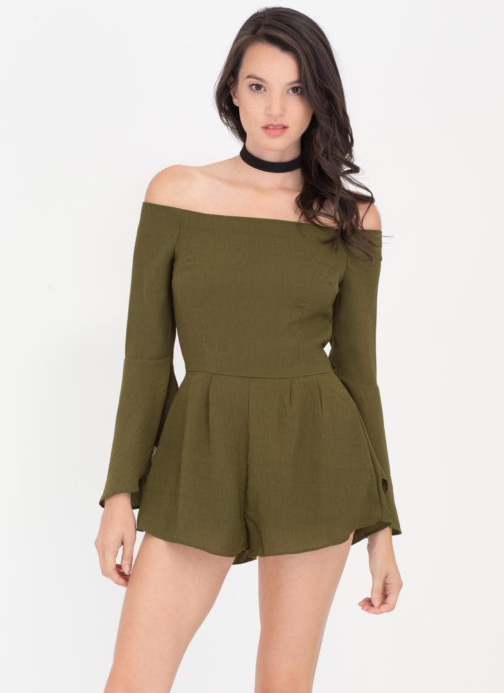 Ring My Bell Off-Shoulder Romper OLIVE