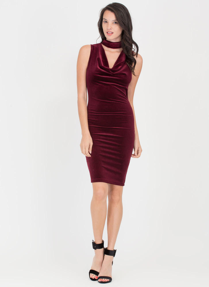 Cowl On The Prowl Plunging Velvet Dress BURGUNDY
