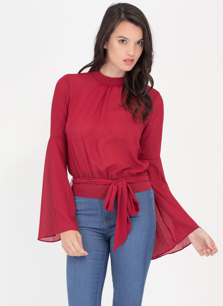 Sheer Me Out Tied Bell Sleeve Top