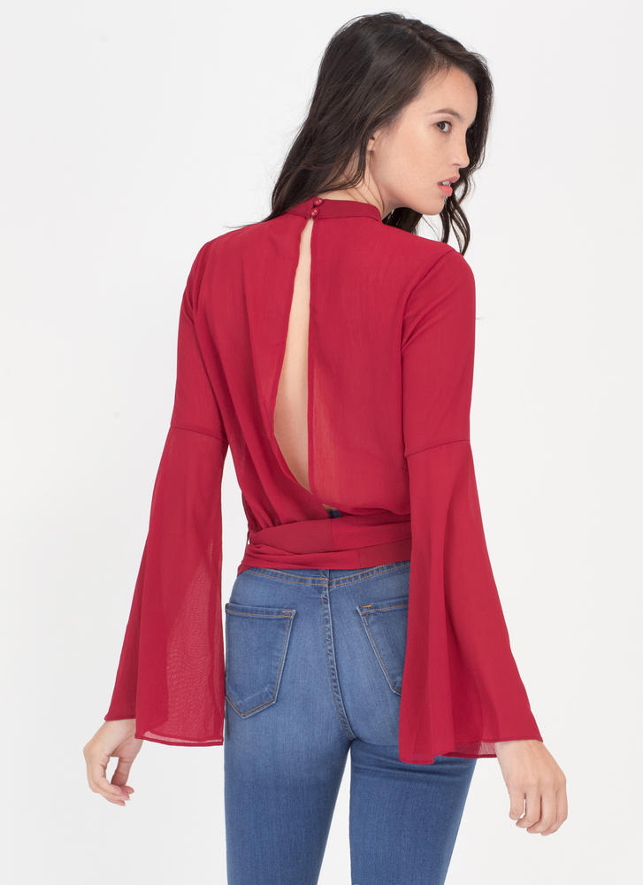 Sheer Me Out Tied Bell Sleeve Top WINE