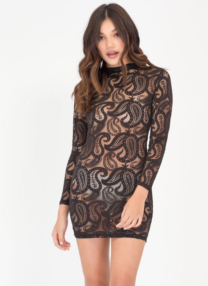 Paisley Perfect Sheer Bodycon Dress BLACK