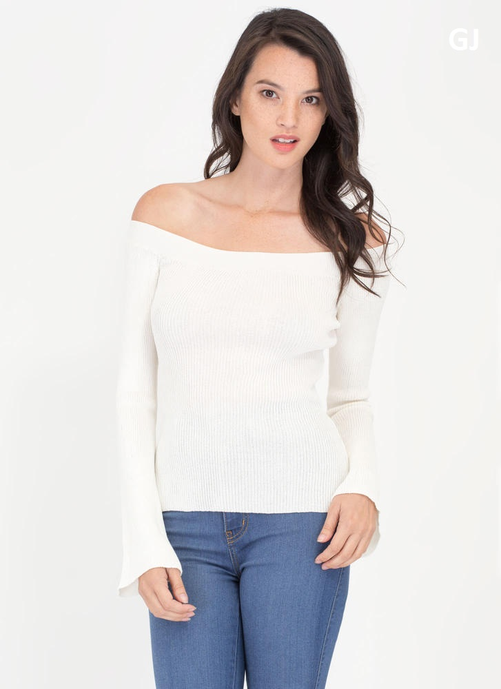 New Angle Cut-Out Off-Shoulder Top WHITE (Final Sale)