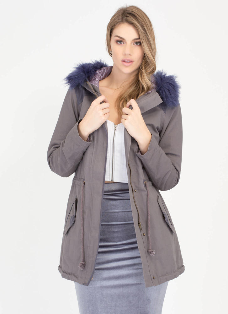 Great Outdoors Faux Fur Utility Jacket
