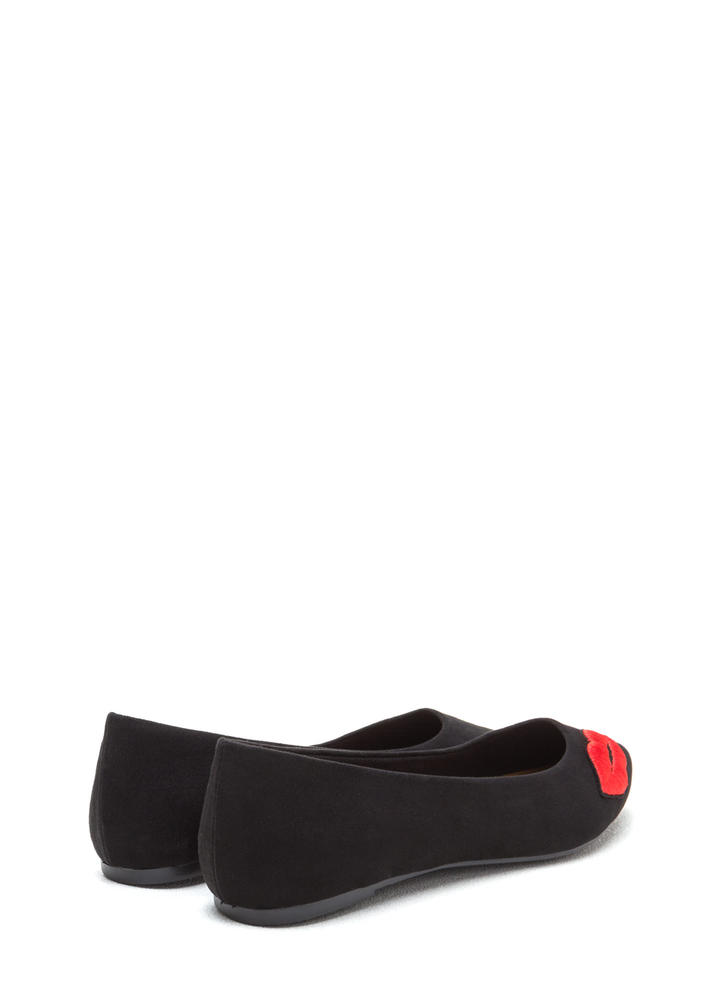 Chic Pout Pointy Faux Suede Flats BLACK