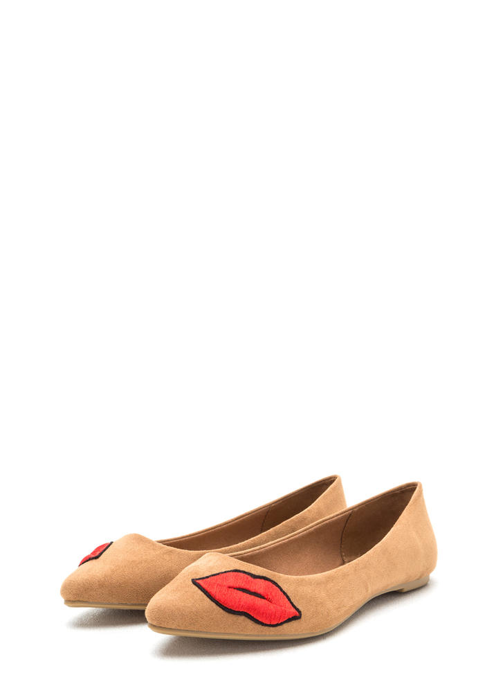 Chic Pout Pointy Faux Suede Flats TAN