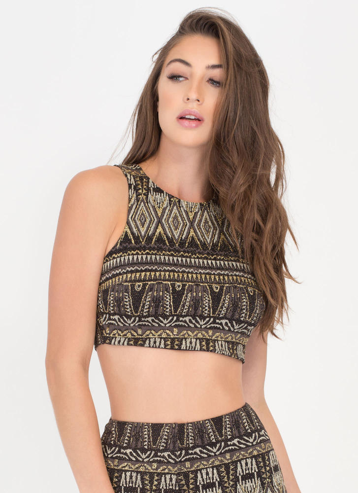 Gilded Age Metallic Patterned Crop Top BLACKGOLD