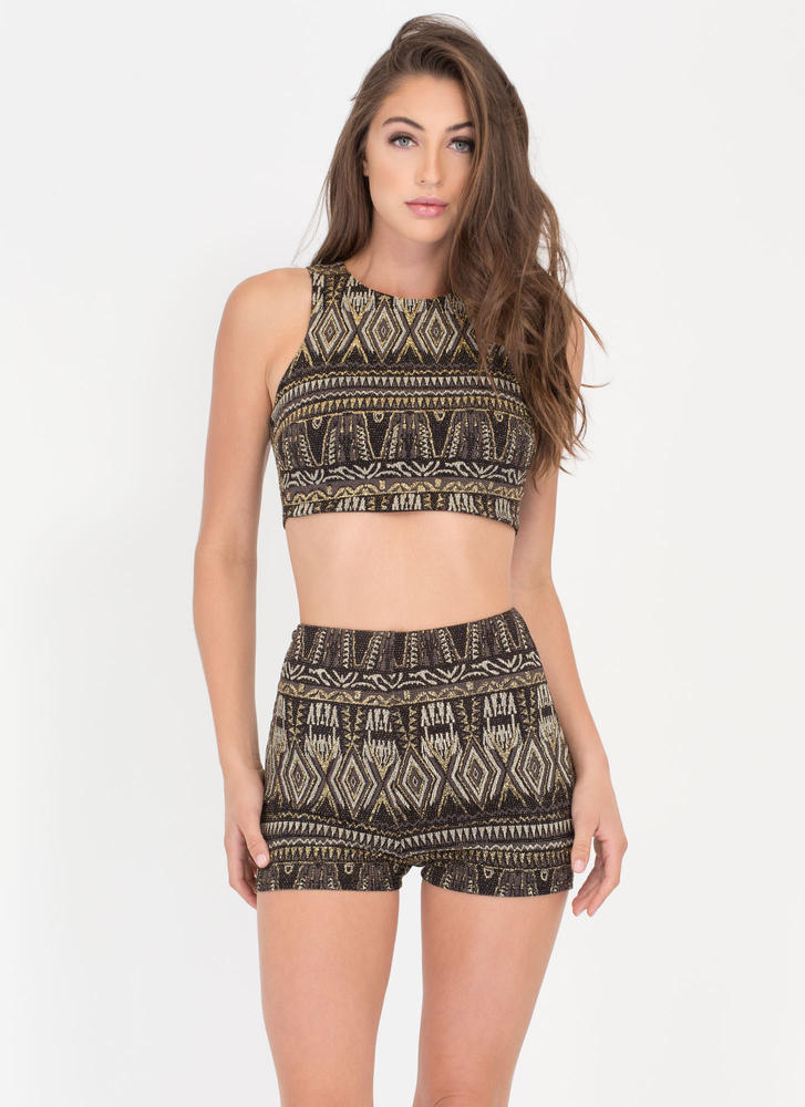 Gilded Age Metallic Patterned Shorts BLACKGOLD