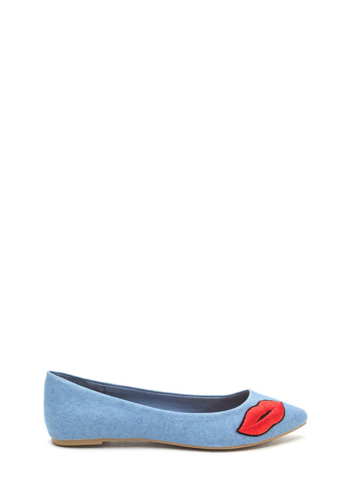 Chic Pout Pointy Denim Flats