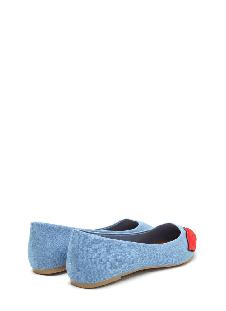 Chic Pout Pointy Denim Flats BLUE