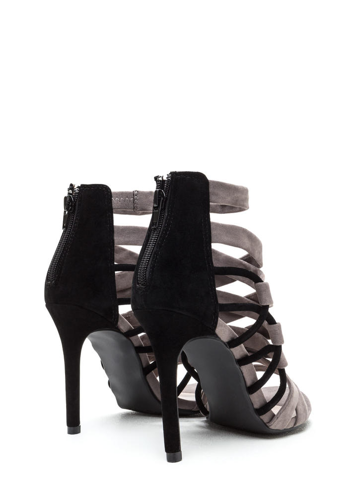 X Axis Strappy Caged Stiletto Heels BLACK