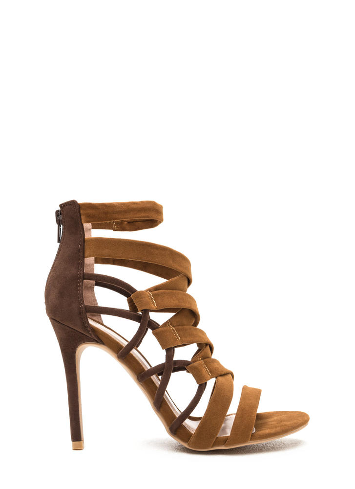 X Axis Strappy Caged Stiletto Heels