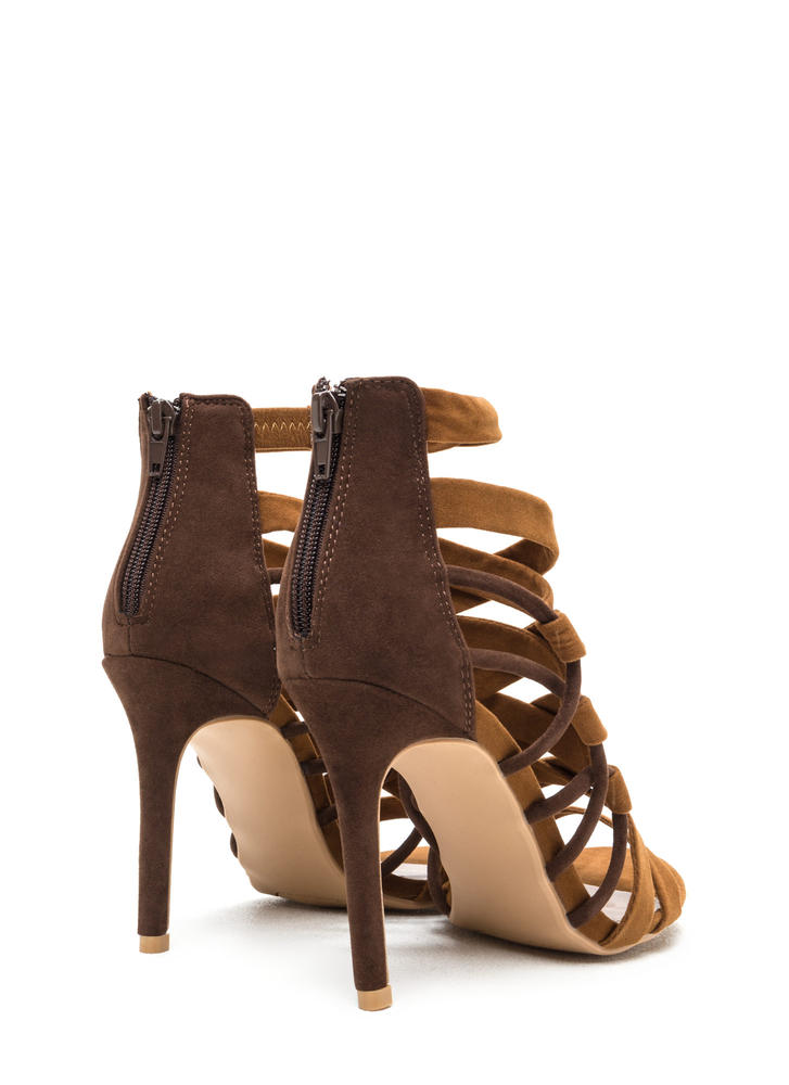 X Axis Strappy Caged Stiletto Heels BROWN