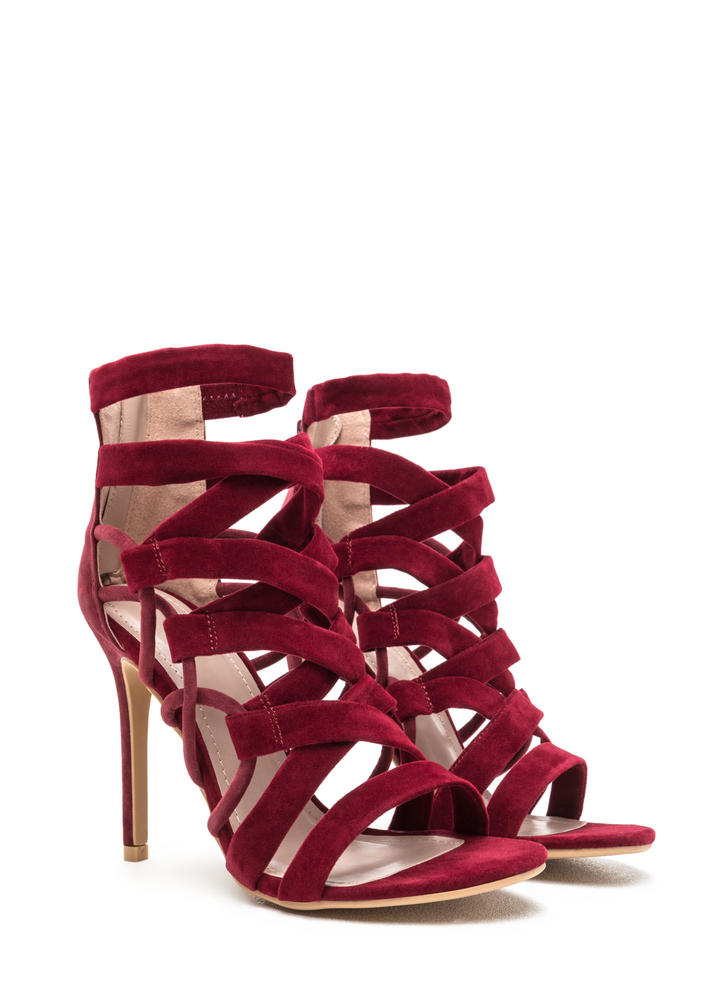 X Axis Strappy Caged Stiletto Heels BURGUNDY