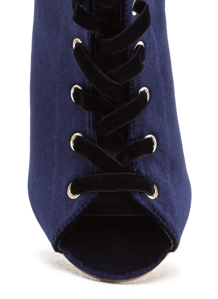 Luxe Good Lace-Up Peep-Toe Velvet Heels NAVY