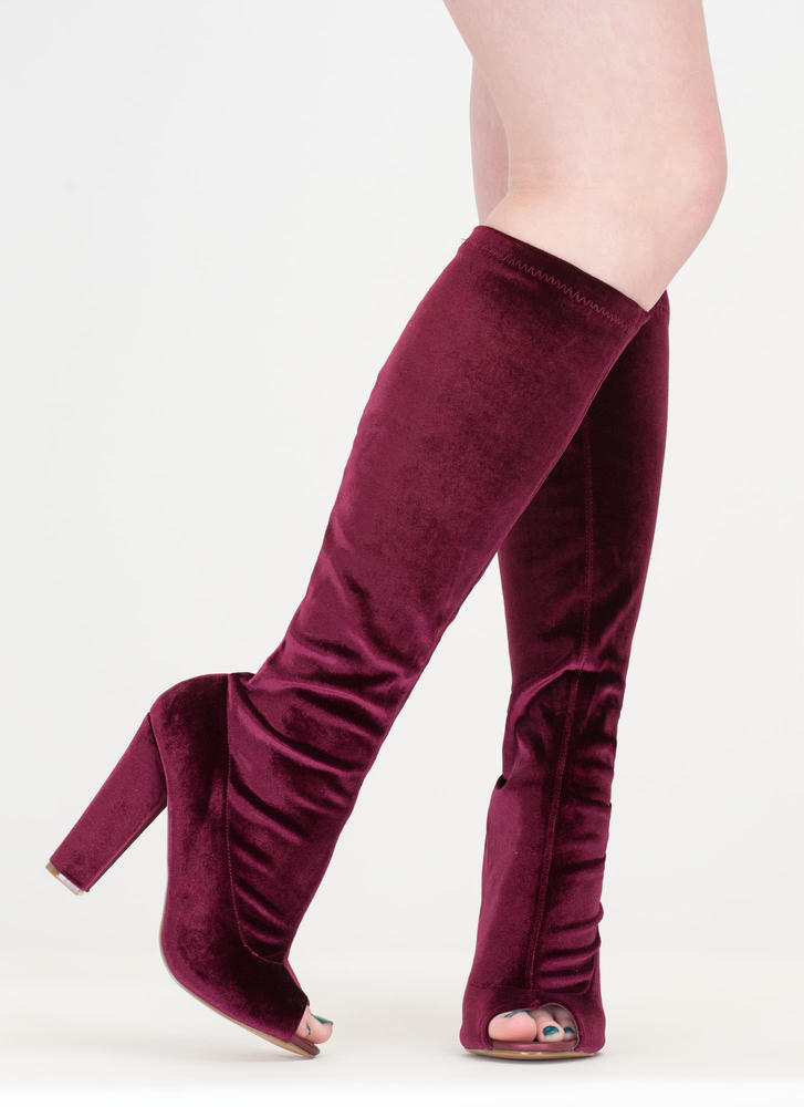 Velvet Victory Knee-High Chunky Boots WINE