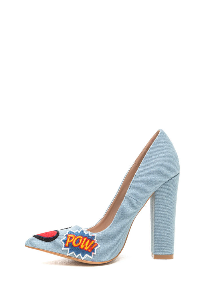 Meet Your Patch Chunky Denim Heels BLUE