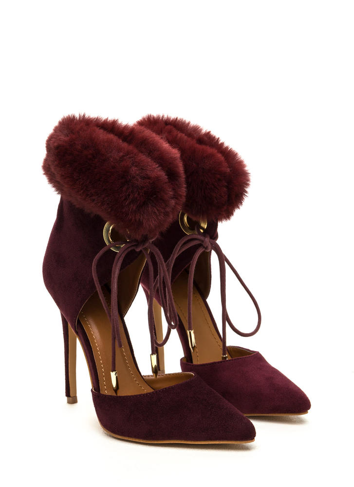 All Fur One Pointy Laced Heels BURGUNDY