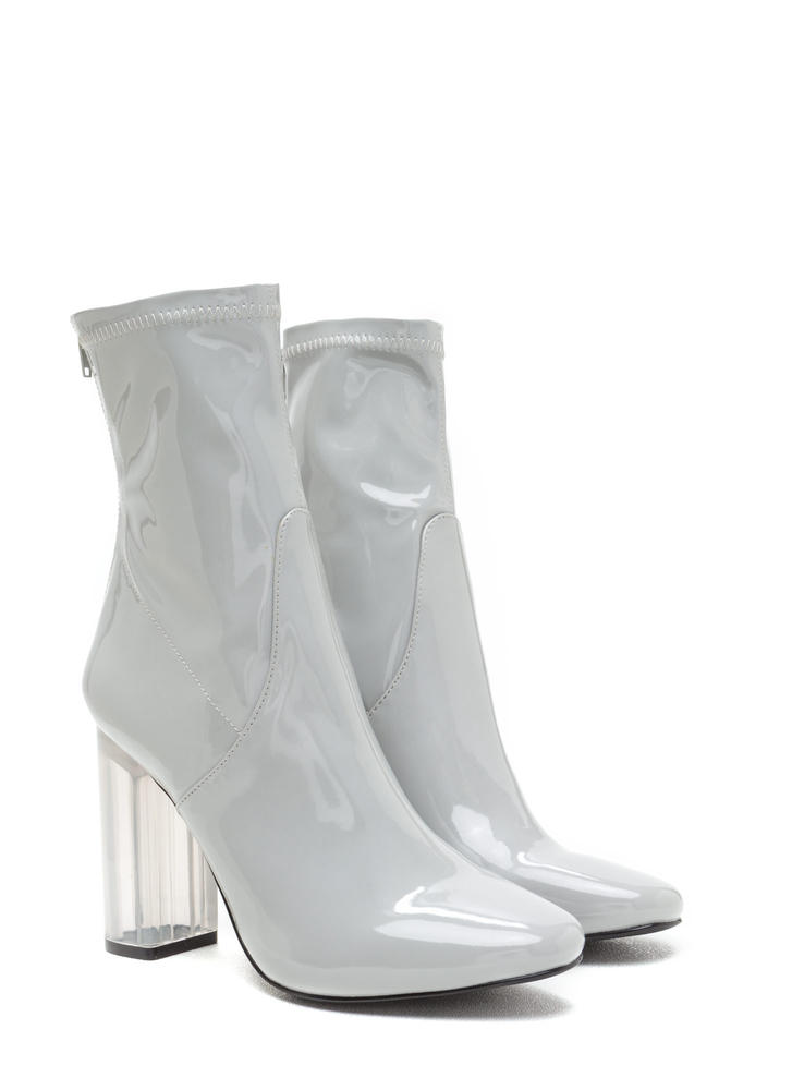 Clearly Chic Chunky Faux Patent Booties GREY