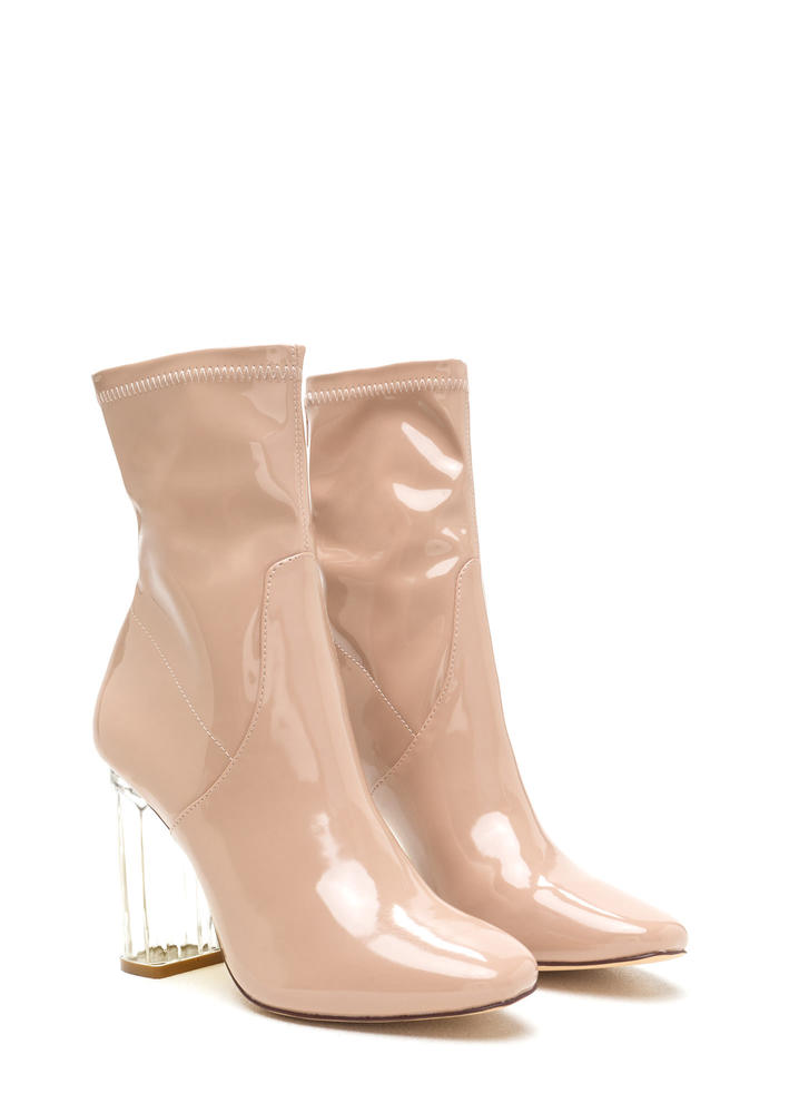 Clearly Chic Chunky Faux Patent Booties NUDE