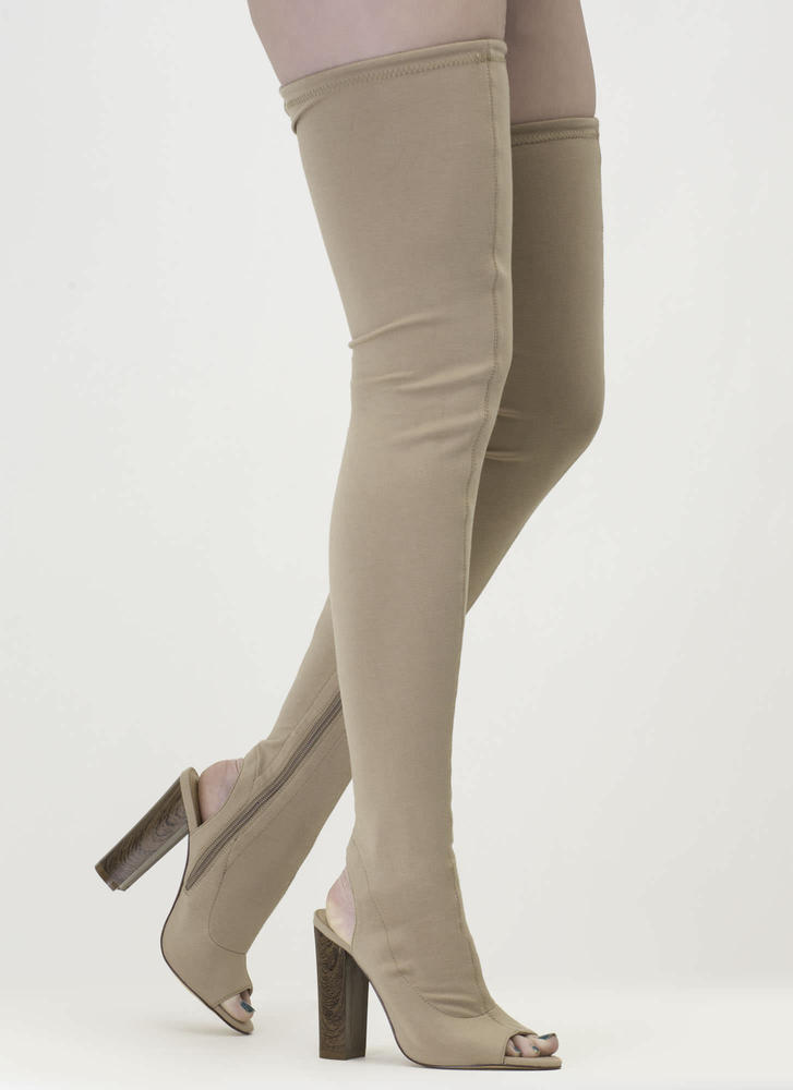 High Class' Drawstring Over-The-Knee Stretch Boots - Beige, Wine ...